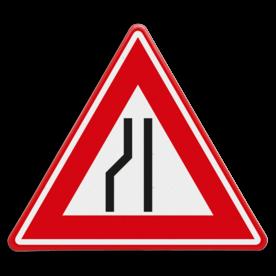 Verkeersbord RVV J19 - Vooraanduiding rijbaanversmalling links