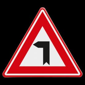 Verkeersbord - Vooraanduiding haakse bocht naar links