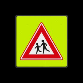 Verkeersbord RVV J21f - FLUOR Overstekende Kinderen
