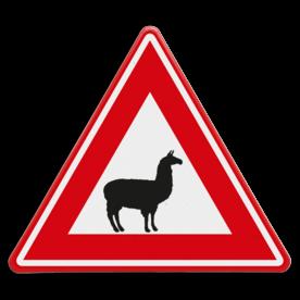 Verkeersbord - waarschuwing voor lama's of Alpaca's