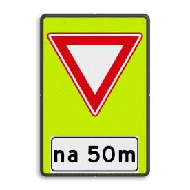 Verkeersbord RVV B06- OB401- Voorrangsweg - FLUOR - afstandsaanduiding