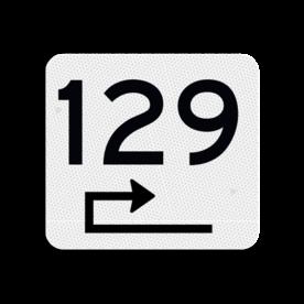 Huisnummerbord vlak 119x109mm - reflecterend klasse 3