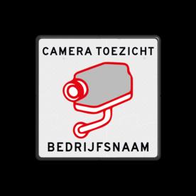 Bord cameratoezicht + bedrijfsnaam - vierkant