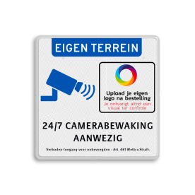 Camerabewaking bord + bedrijfslogo - eigen terrein 24/7 camerabewaking