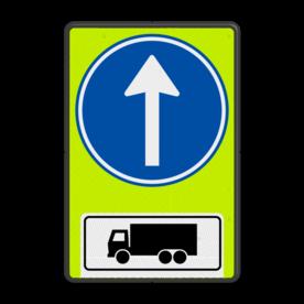 Verkeersbord RVV D04OB11f - Verplichte rijrichting rechtdoor voor vrachtwagens