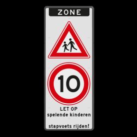 Verkeersbord ZONE J21 A01-50 - spelende kinderen / stapvoets rijden