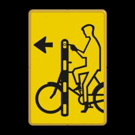 Verkeersbord RVV VR01la geel/zwart - 200x300mm - Fietsers