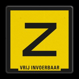 Verkeersbord Zinkerbord zwart/geel + tekst