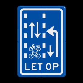 Verkeersbord RVV VR10-04 - Let op: recht doorgaande fietsers en bromfietsers in twee richtingen