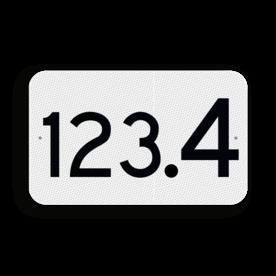 Hectometerbord vlak schouwpad km 100 en hoger - RS - 330x200mm - Reflecterend