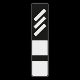 Bord Reflectorplaten schuine strepen + 2 plaatjes - RS 251b - 200x900mm - Reflecterend