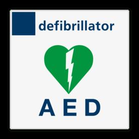 Veiligheidsbord defibrillator/AED - Reflecterend