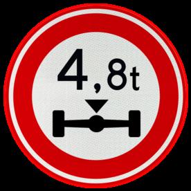 Verkeersbord RVV C20 - Gesloten voor te zware aslast