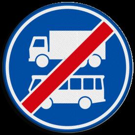 Verkeersbord RVV F20 - Einde rijbaan of -strook bus en vrachtverkeer