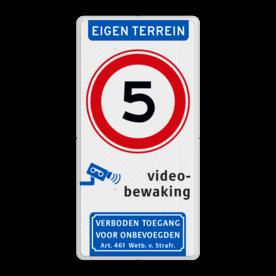 Verkeersbord A01-05 met videobewaking en Wetboek