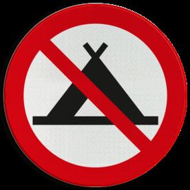Verbodsbord - Kamperen met tent verboden