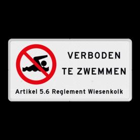 Verkeersbord Zwemmen verboden - met tekst