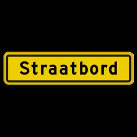 Straatnaambord geel 10 karakters 600x150mm