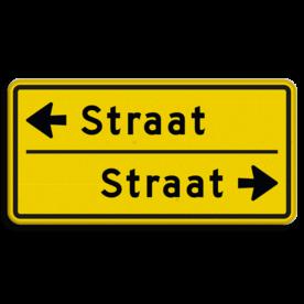 Straatnaambord geel 10 karakters 600x300 mm 2 regelig met pijl NEN 1772