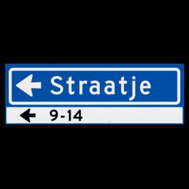Straatnaambord KOKER 600x200mm - max. 10 karakters - huisnummers en pijl links - NEN1772