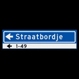 Straatnaambord KOKER 800x200mm - max. 14 karakters - huisnummers en pijl links - NEN1772