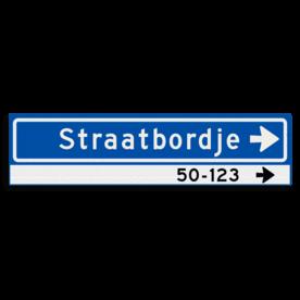 Straatnaambord KOKER 800x200mm - max. 14 karakters - huisnummers en pijl rechts - NEN1772
