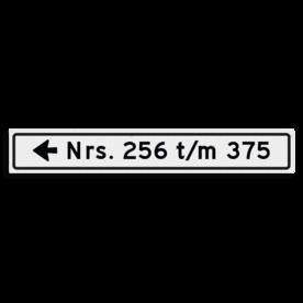 Verwijsbord KOKER huisnummers 1000x150 mm met pijl NEN 1772
