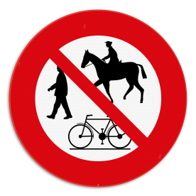 Informatiebord - verboden voor wandelaar, fietsers, ruiters
