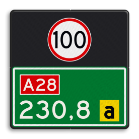 Hectometerbord BB08 600x600mm met A01100 en letter