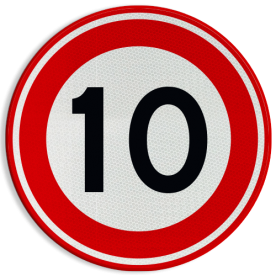 Verkeersbord RVV A01-10 - Maximum snelheid 10 km/h