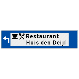 Verwijsbord object (blauw) - met 2 pictogrammen, 2 regel tekst en pijl