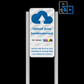Portaalsysteem TS met informatiebord 2:1 met aluminium geborstelde staanders