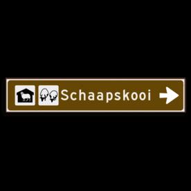 Verwijsbord KOKER Bruin/wit/zwart - pijl rechts, met 2 pictogrammen - Klasse 3 reflecterend