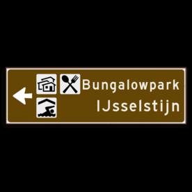 Verwijsbord KOKER Bruin/wit/zwart - pijl links, 2 regelig met 3 pictogrammen - Klasse 3 reflecterend