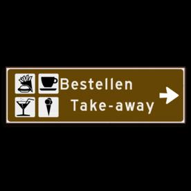 Verwijsbord KOKER Bruin/wit/zwart - pijl rechts, 2 regelig met 4 pictogrammen - Klasse 3 reflecterend