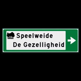 Verwijsbord KOKER Groen/wit/zwart - pijl rechts, 2 regelig met 1 pictogram - Klasse 3 reflecterend