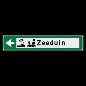 Verwijsbord KOKER Groen/wit/zwart - pijl links, met 2 pictogrammen - Klasse 3 reflecterend