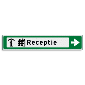 Verwijsbord KOKER Groen/wit/zwart - pijl rechts, met 2 pictogrammen - Klasse 3 reflecterend