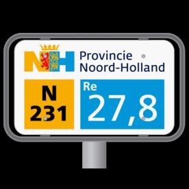 Hectometerpaal met vlak bord 330x195mm - Noord-Holland