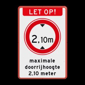 Aluminium informatiebord met een dubbel omgezette rand - Reflecterende opdruk: Aluminium informatiebord met een dubbel omgezette rand met print van tekst / pictogrammen in reflectieklasse 3 (incl. anti-graffiti laminaat). Basis: Wit / rode rand (Rand: RAL 3020 - rood) Koptekst: Pictogram: LET OP! (banner) Verkeersteken: Pictogram: C19 - Gesloten voor te hoge voertuigen: 2,10 Tekstvlak: maximale doorrijhoogte 2,10 meter. - Product eigenschappen: Ontwerpcode: 00fe09Afmetingen: 400x600mmReflecterend: Klasse 3 [ maximaal ]Uitvoering: Dubbel omgezette randIncl. anti-graffiti laminaat