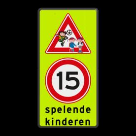 Aluminium informatiebord met een dubbel omgezette rand - Aluminium informatiebord met een dubbel omgezette rand met print van tekst / pictogrammen in reflectieklasse 3 (incl. anti-graffiti laminaat). Reflecterende opdruk: Basis: Fluor geel-groen / zwarte rand (Rand: RAL 9017 - zwart) Verkeersteken boven: Pictogram: Spelende kinderen - clip art Verkeersteken midden: Pictogram: A01-015 Tekstvlak: spelende kinderen.