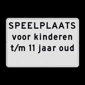 Aluminium informatiebord met een dubbel omgezette rand - Reflecterende opdruk: Aluminium informatiebord met een dubbel omgezette rand met print van tekst / pictogrammen in reflectieklasse 1 (incl. anti-graffiti laminaat). Basis: Wit / witte rand (Rand: RAL 9016 - wit) Tekstvlak: SPEELPLAATS voor kinderen t/m 11 jaar oud . Tekstvlak: Verboden toegang voor onbevoegden Art 461 w.v.s.. - Product eigenschappen: Ontwerpcode: 04dd90Afmetingen: 600x400mmReflecterend: Klasse 1 [ minimaal ]Uitvoering: Dubbel omgezette randIncl. anti-graffiti laminaat