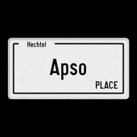 Belgisch Alum. straatnaambord met een dubbel omgezette rand - Reflecterende opdruk: Belgisch Alum. straatnaambord met een dubbel omgezette rand met print van tekst / pictogrammen in reflectieklasse 3 (incl. anti-graffiti laminaat). Basis: Straatnaambord DOR 400x200x28mm (Rand: RAL 9016 - wit) Tekstvlak: Hechtel Tekstvlak: Apso Tekstvlak: PLACE. - Product eigenschappen: Ontwerpcode: 0555faAfmetingen: 400x200mmReflecterend: Klasse 3 [ maximaal ]Incl. anti-graffiti laminaat