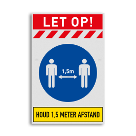 Losse reflecterende sticker - Reflecterende opdruk: Losse reflecterende sticker met print van tekst / pictogrammen in reflectieklasse 1 (incl. anti-graffiti laminaat). Basis: Basis-wit = witte dorrand (Rand: RAL 9016 - wit) Banner-top: Pictogram: LET OP! Banner Top 02: Pictogram: Baan Rood/Wit icoon 01: Pictogram: Verplicht om afstand te houden Banner-top: Pictogram: Eigen tekst invoeren (Smal lettertype): HOUD 1,5 METER AFSTAND. - Product eigenschappen: Ontwerpcode: 061f4eAfmetingen: 300x450mmReflecterend: Klasse 1 [ minimaal ]Uitvoering: Losse stickerIncl. anti-graffiti laminaat