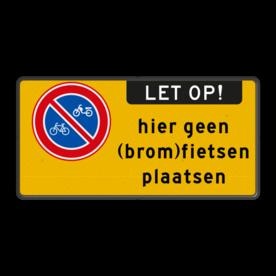 Aluminium informatiebord met een dubbel omgezette rand - Reflecterende opdruk: Aluminium informatiebord met een dubbel omgezette rand met print van tekst / pictogrammen in reflectieklasse 3 (incl. anti-graffiti laminaat). Basis: Fluor geel / zwarte rand (Rand: RAL 9017 - zwart) Pictogram links: Pictogram: E03 - Verboden (brom-)fietsen te parkeren / plaatsen Tekstvlak: hier geen (brom)fietsen plaatsen Aanhef - Banner: Pictogram: LET OP! Pictogram: Pictogram:. - Product eigenschappen: Ontwerpcode: 08b4a9Afmetingen: 400x200mmReflecterend: Klasse 3 [ maximaal ]Uitvoering: Dubbel omgezette randIncl. anti-graffiti laminaat