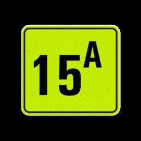 Huisnummerbord Alupanel 119x109 - Reflecterende opdruk: Huisnummerbord Alupanel 119x109 met print van tekst / pictogrammen in reflectieklasse 3 (incl. anti-graffiti laminaat). Basis: Geel-groen-Fluor met zwart (Rand: RAL 9017 - zwart) Tekstvlak: 15A. - Product eigenschappen: Ontwerpcode: 099b25Afmetingen: 119x109mmReflecterend: Klasse 3 [ maximaal ]Incl. anti-graffiti laminaat