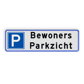 Aluminium informatiebord met een dubbel omgezette rand - Aluminium informatiebord met een dubbel omgezette rand met print van tekst / pictogrammen in reflectieklasse 1 (incl. anti-graffiti laminaat). Reflecterende opdruk: Basis: Wit / blauwe rand (Rand: RAL 5017 - blauw) Picto: Pictogram: Parkeren toegestaan Tekstvlak: Bewoners Parkzicht.