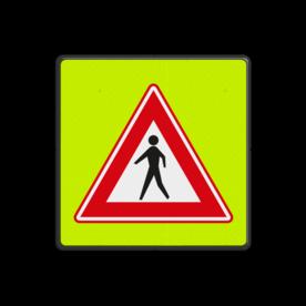 Aluminium informatiebord met een dubbel omgezette rand - Aluminium informatiebord met een dubbel omgezette rand met print van tekst / pictogrammen in reflectieklasse 3 (incl. anti-graffiti laminaat). Reflecterende opdruk: Basis: Fluor geel-groen / zwarte rand (Rand: RAL 9017 - zwart) Picto: Pictogram: J23.