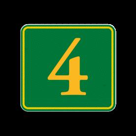 Huisnummerbord Alupanel 119x109 - Reflecterende opdruk: Huisnummerbord Alupanel 119x109 met print van tekst / pictogrammen in reflectieklasse 3 (incl. anti-graffiti laminaat). Basis: Groen met geel (Rand: RAL 1023 - geel) Tekstvlak: 4. - Product eigenschappen: Ontwerpcode: 0aec0dAfmetingen: 119x109mmReflecterend: Klasse 3 [ maximaal ]Incl. anti-graffiti laminaat
