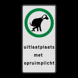 Aluminium informatiebord met een dubbel omgezette rand - Reflecterende opdruk: Aluminium informatiebord met een dubbel omgezette rand met print van tekst / pictogrammen in reflectieklasse 1 (incl. anti-graffiti laminaat). Basis: Wit / zwarte rand (Rand: RAL 9005 - zwart) Pictogram dieren: Pictogram: Toegestaan - Honden uit te laten Tekstvlak: uitlaatplaats met opruimplicht. - Product eigenschappen: Ontwerpcode: 0c1765Afmetingen: 200x400mmReflecterend: Klasse 1 [ minimaal ]Incl. anti-graffiti laminaat